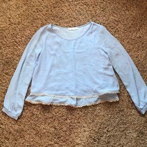 LUSH baby blue long sleeve blouse